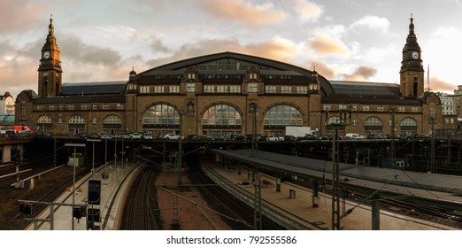 Panorama of central station in  Hamburg