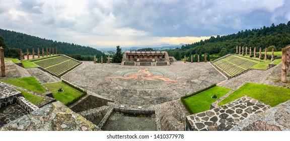 Panorama of ceremony center Otomi in Temoaya, Mexico