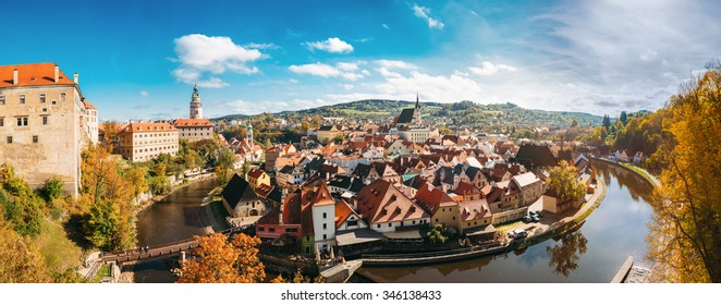 Panorama Cesky Krumlov. Castle, Tower, St. Vitus Church in cityscape Cesky Krumlov, Czech republic. Sunny autumn day. UNESCO World Heritage Site