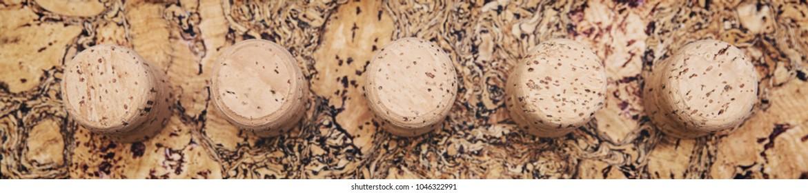 Panorama, champagne corks on untreated cork panel, cork oak theme