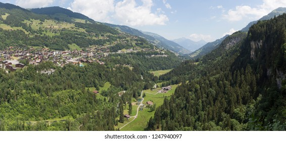 Panorama of Champery village with apartment buildings (Switzerland)