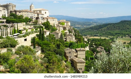 panorama of charming hilltop village Gordes in Vaucluse departement, Luberon Valley, Provence region in France, Europe, photo taken during sunny summer day, popular place for visitors of Provence