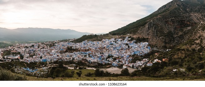 Panorama of Chefchaouen, Morocco, During Sunset