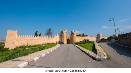 Panorama of Chellah entrance gate. Chellah or Sala Colonia is a medieval fortified necropolis located in Rabat, Morocco. Rabat is the capital of Morocco , Africa. Park full of old ruins and history
