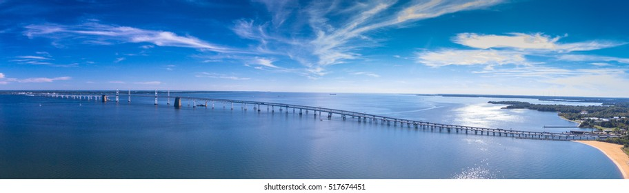 Panorama of the Chesapeake Bay Bridge near Annapolis, Maryland.