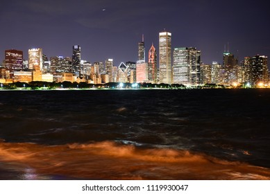 Panorama Chicago at night