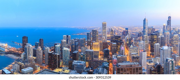 Panorama Chicago skyline aerial view over Lake Michigan.