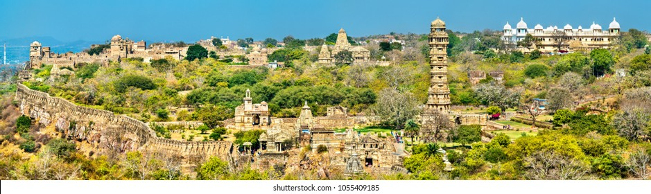 Panorama of Chittor Fort, a UNESCO world heritage site in Rajasthan State of India