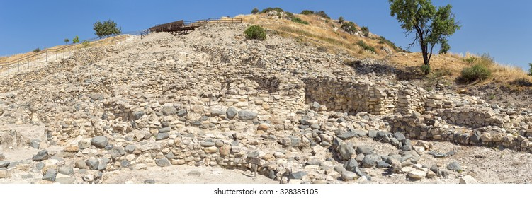 Panorama of Choirokoitia (Khirokitia ) Neolithic Settlement of 7-4-th millennium B.C. with age indicatind tables. World Heritage Site by UNESCO. Cyprus.