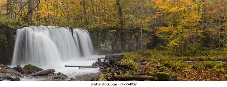 Panorama of Choshi Ootaki waterfall in Oirase Gorge beautiful stream during the autumn season, Japan