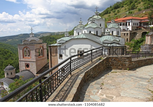 Panorama to church of Virgin Mary and medieval building in Monastery Saint Joachim of Osogovo, Kriva Palanka, Republic of Macedonia. The domes of a church. Christianity. East Orthodox Osogovo monaster