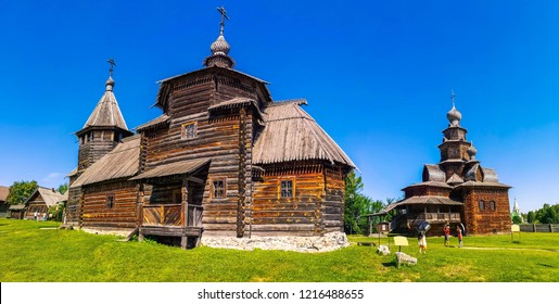 Panorama church world heritage for tourists. Ancient town of Suzdal is a historical landmark as part of Golden Ring of Russia. Vintage wooden architecture of Suzdal in Russia