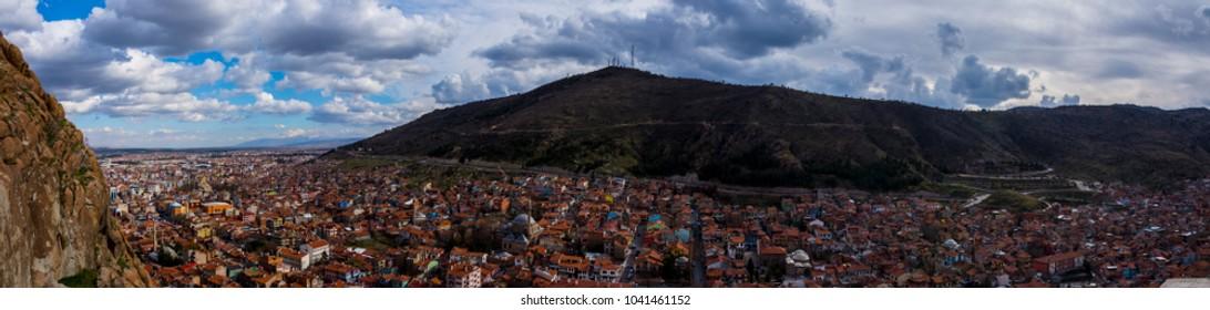 Panorama of the city of Afyonkarahisar, Turkey