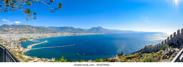 Panorama of city of alanya on top of castle