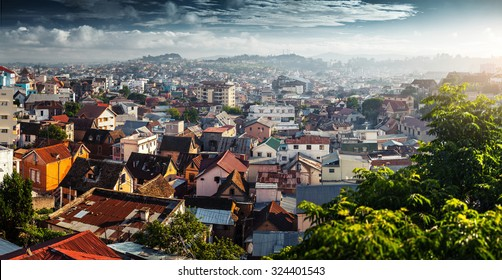 Panorama of the city of Antananarivo at sunrise. Madagascar