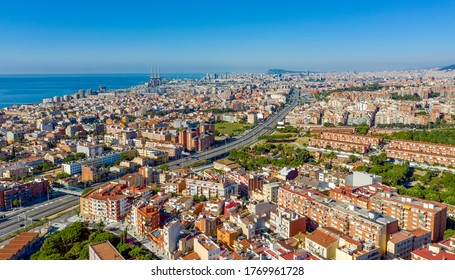 panorama of the city of Barcelona Spain, From the mountain of Badalona