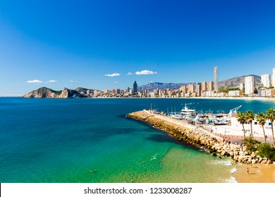 Panorama of the city of Benidorm Spain with Poniente beach, port, skyscrapers and mountains, Benidorm Spain