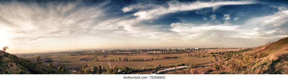 Panorama of the city of Bishkek. Kyrgyzstan.