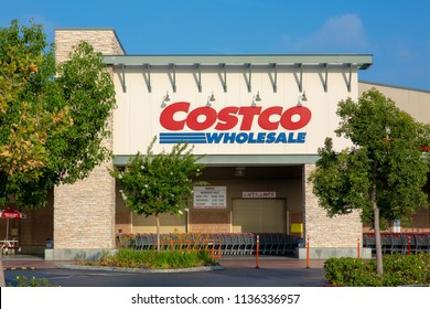 Panorama City, California/ USA - July 17, 2018. Costco Wholesale storefront. Costco Wholesale Corporation is largest membership-only warehouse club in US.