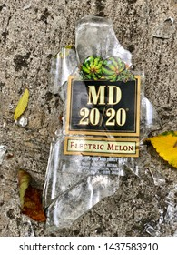 Panorama City, California/USA - June 25, 2019: broken glass bottle of alcoholic beverage MD 20/20 electric melon