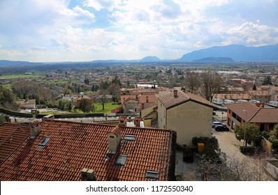Panorama of city called GEMONA DEL FRIULI in Northern Italy