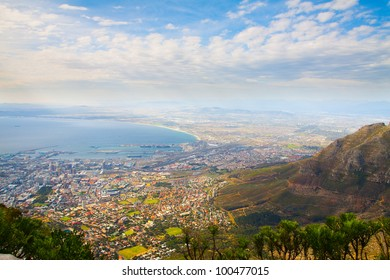 """Panorama of the City of Cape Town, South Africa on top of the """"Table Mountain"""" in a sunny autumn day."""