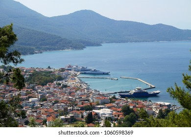 "Panorama of the city center, aerial view - Thassos, Greek island - Limenas Thasou ""Port of Thasos"" - Aegean Sea."