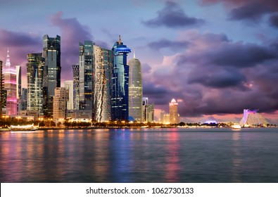 Panorama of the city center of Doha, Qatar, during a cloudy sunset