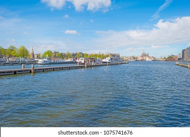 Panorama of the city centre and a port of Amsterdam