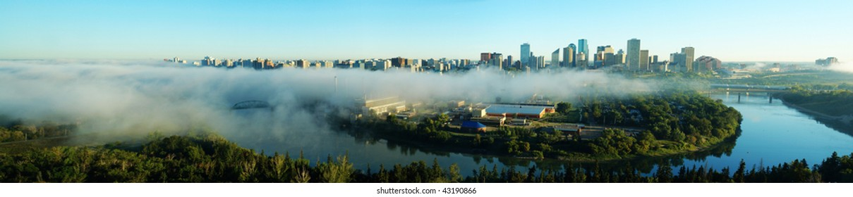 Panorama of city downtown and the north saskatchewan river valley in an autumn morning, edmonton, alberta, canada