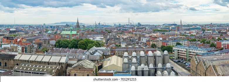Panorama of the city of Dublin, beer brewery in the foreground, Ireland