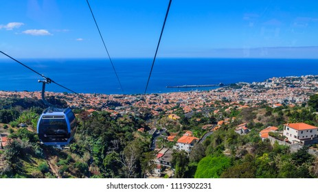 Panorama of the city of Funchal from the funicular. Funchal, Madeira, Portugal.