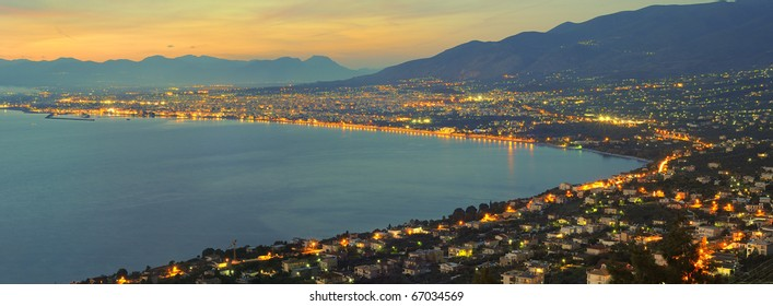 Panorama of the city of Kalamata, in southern Greece, Messinia, photographed right after sunset