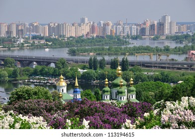 Panorama of the city of Kiev. Ukraine. View of the monastery Vydubitsky, left bank of the Dni?p?r River and the modern part of town. Kyiv.
