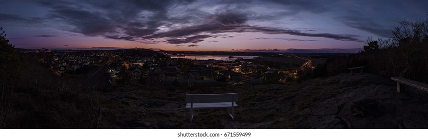 Panorama city from Kjelle Hill on Tonsberg and Slotsfjell hill. Norway, sunset.