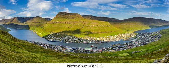 Panorama of the city of Klaksvik on Bordoy island, Faroe Islands, Denmark
