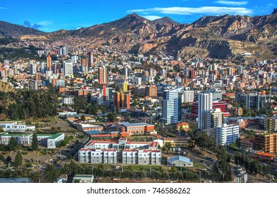 Panorama of City of La Paz Bolivia from Killi Killi Viewpoint. Beatiful view