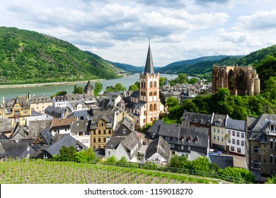 Panorama city landscape Bacharach on the river Rhine with church