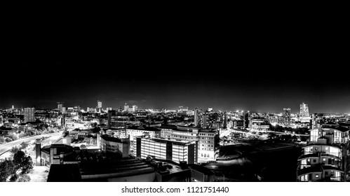 Panorama of the City of Leeds Skyline at Night - Yorkshire, UK