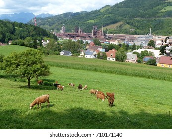Panorama of the city of Leoben. Styria, Austria. In the background steel industry enterprises.