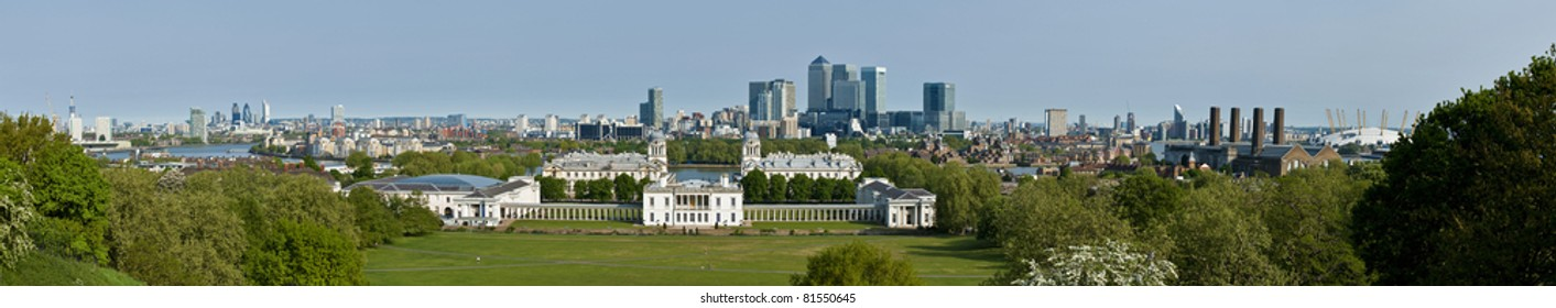 Panorama of the City of London and Isle of Dogs viewed from Greenwich