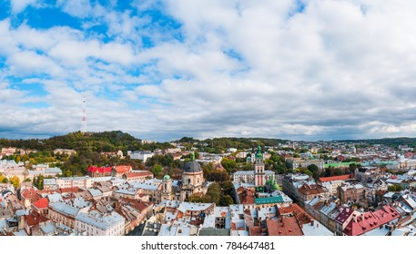 Panorama of the city of Lvov, Ukraine at cloudy day. The top view on the old city of Lvov from height.