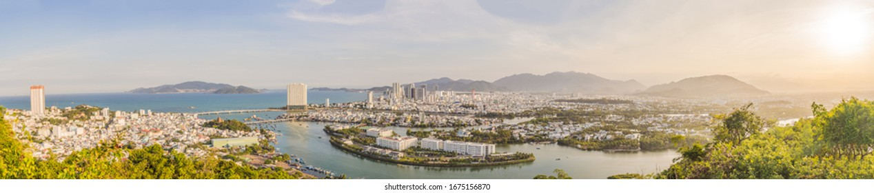 Panorama of the city of Nha Trang, Vietnam. Panoramic daytime view of Nha Trang city, popular tourist destination in Vietnam