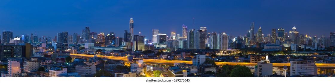 Panorama city at night, Bangkok Thailand