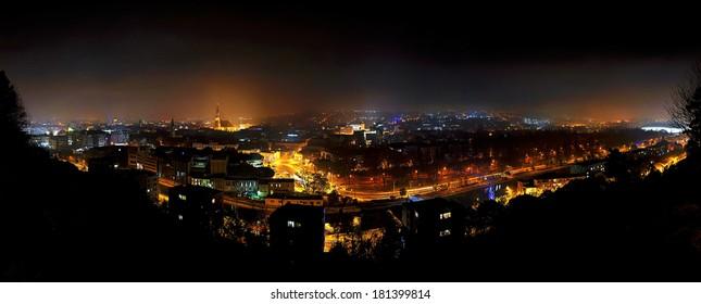 Panorama city nightscape of Cluj Napoca, Kolozsvar, Romania