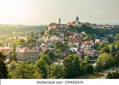 Panorama of the city of Nove Mesto Nad Metuji with the castle on the top of the hill. - Shutterstock ID 1594322674