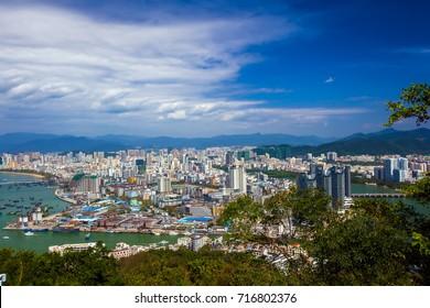 Panorama of the city from the park Luhuitou. Sanya, Hainan, China.
