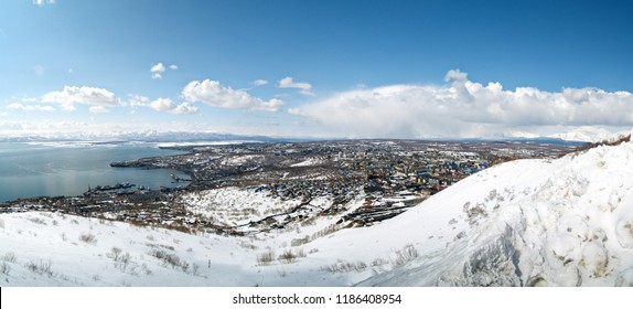 Panorama of the city of Petropavlovsk-Kamchatsky from the top of the hill Mishennaya in winter in sunny weather