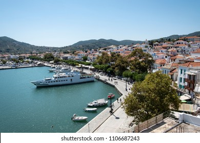 Panorama of the city of Skopelos with the harbor, Sporades, Greece.