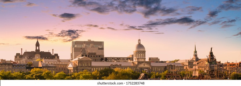 Panorama of the city skyine of Old Montreal at sunset, Quebec, Canada